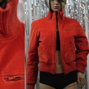 Jackets & Blazers - Orange Bomber Coat 100% Cotton Puff Coat (S)